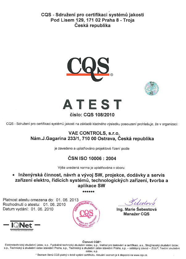 Certificate ISO10006